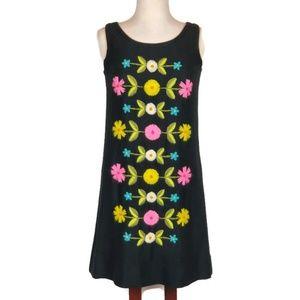 Vintage Crewel Embroidered Sheath Dress EUC